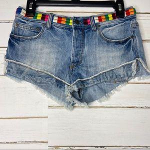 Free People Elliot Rainbow Embroidery Jean Shorts